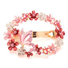 Colorful Rhinestone Butterfly & Flowers Hair Clip